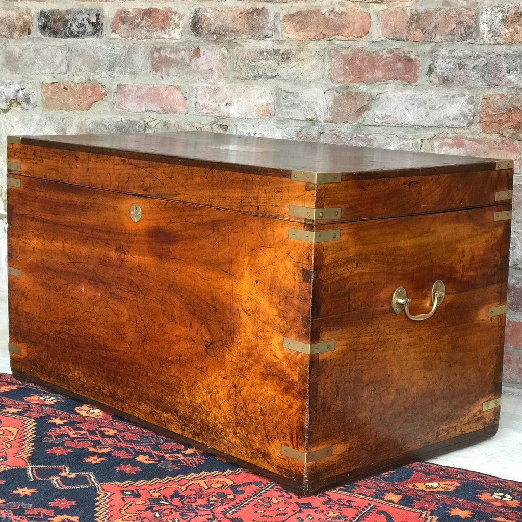 19th Century Camphor Campaign Trunk- Front & Side View - 1