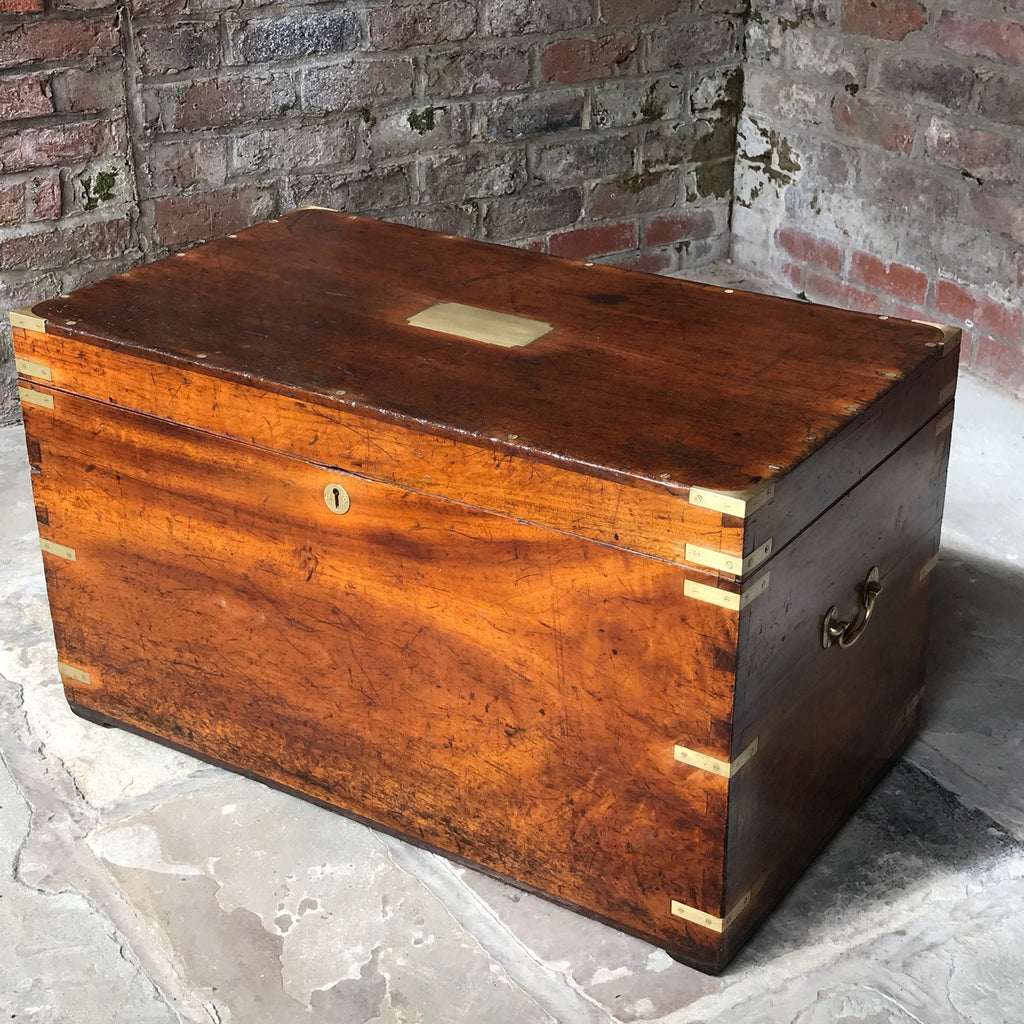 19th Century Camphor Wood Campaign Trunk - Front & Top View -9