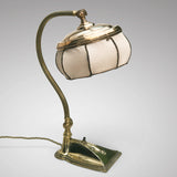 Brass Art Nouveau Desk Lamp with Original Silk Shade - Main View - 2