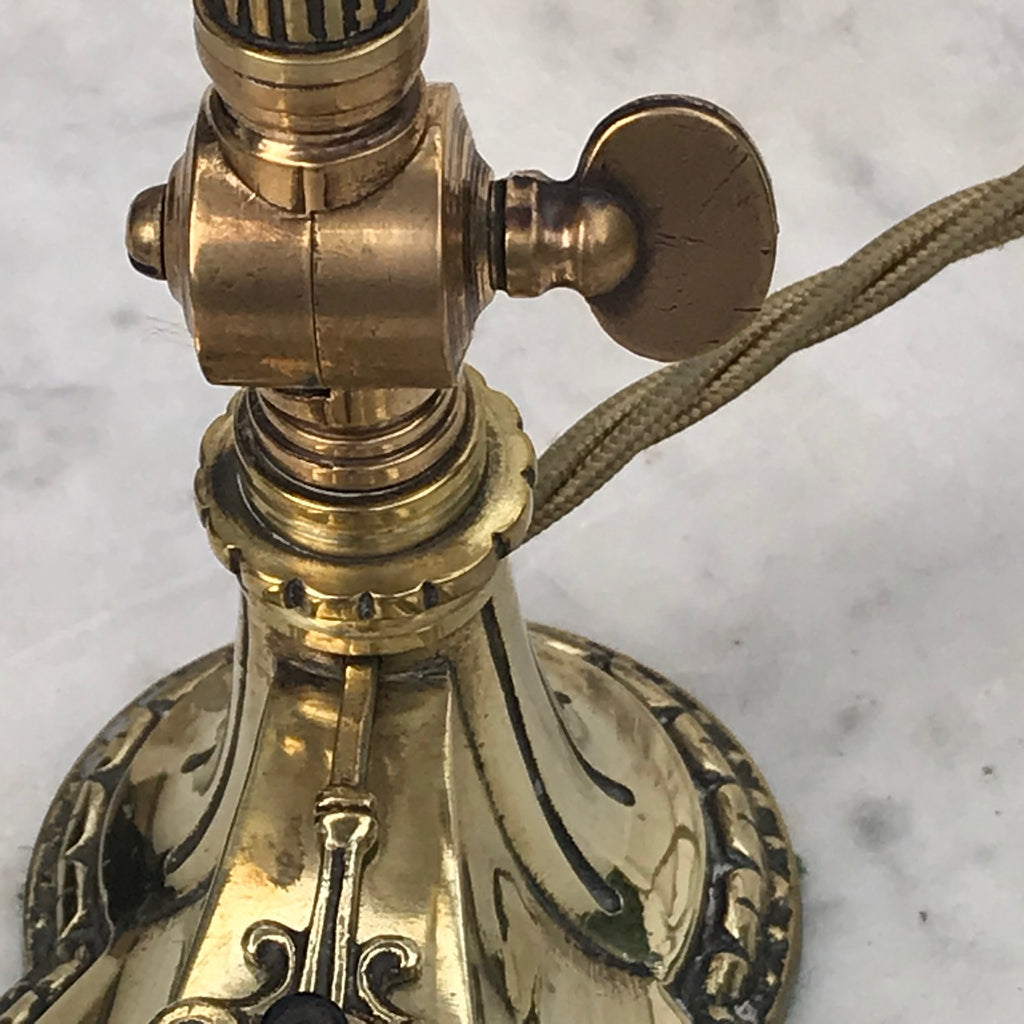 Brass Art Nouveau Desk Lamp with Original Silk Shade - Detail View - 4
