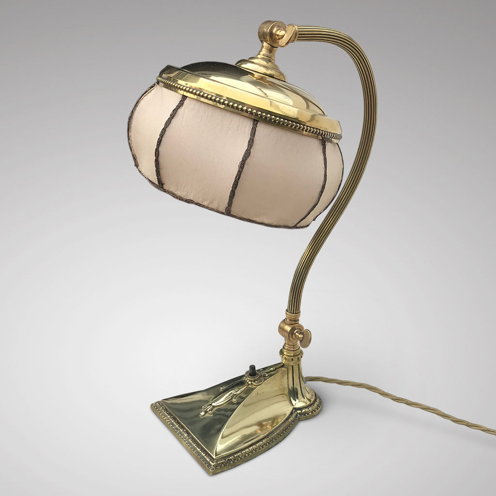 Brass Art Nouveau Desk Lamp with Original Silk Shade - Main View - 1
