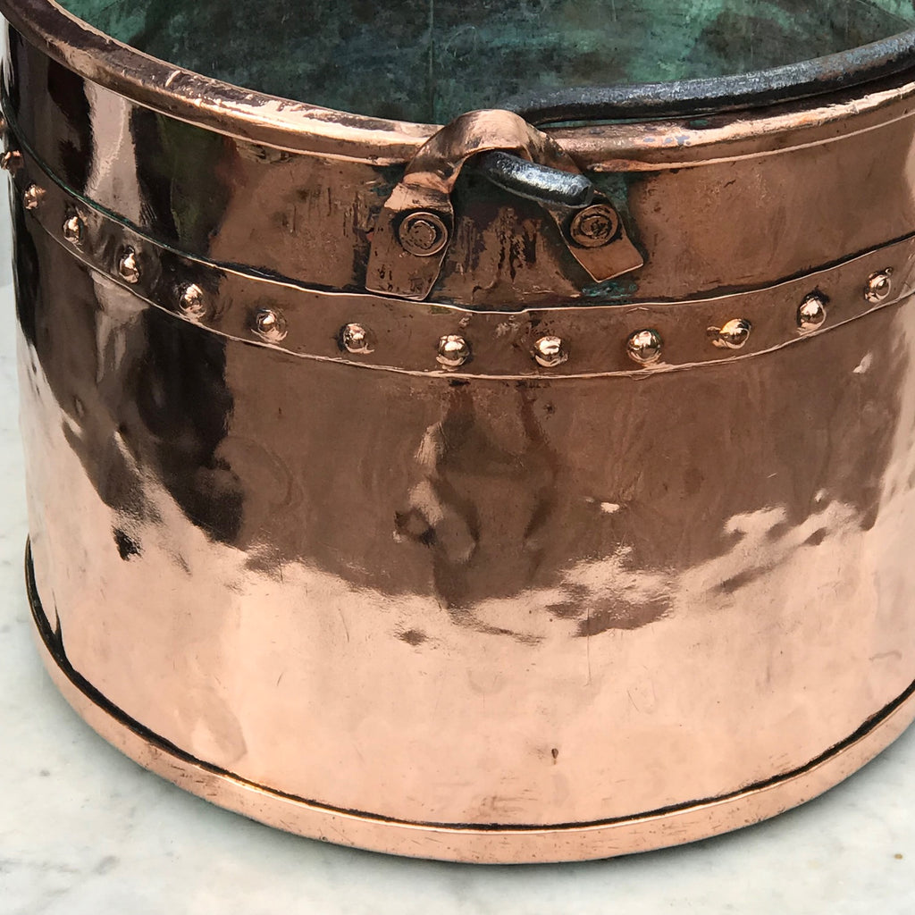 19th Century French Copper Log Bucket - Detail View - 2