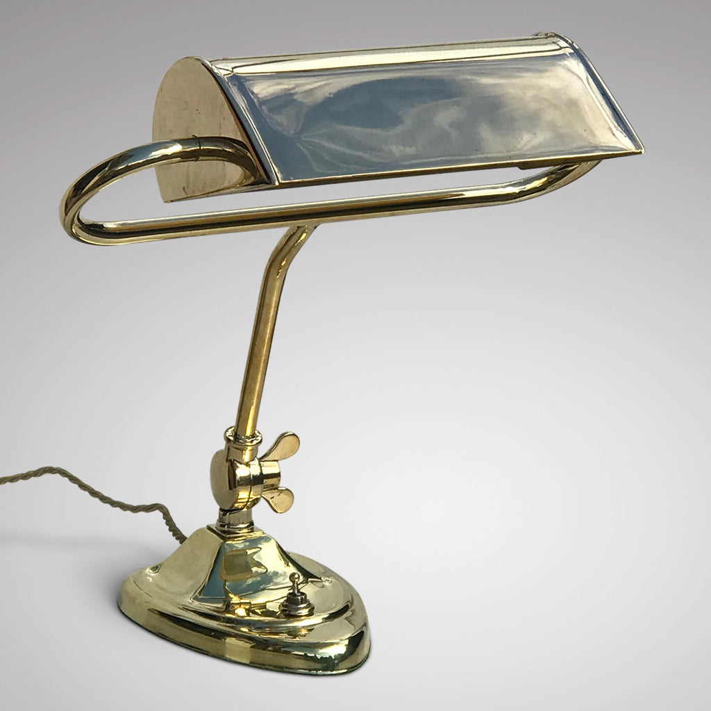 Antique Brass Desk Lamp with Heart Shaped Base - Main View - 1