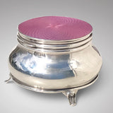 Silver & Pink Guilloche Enamel Jewel Box - Main View-1