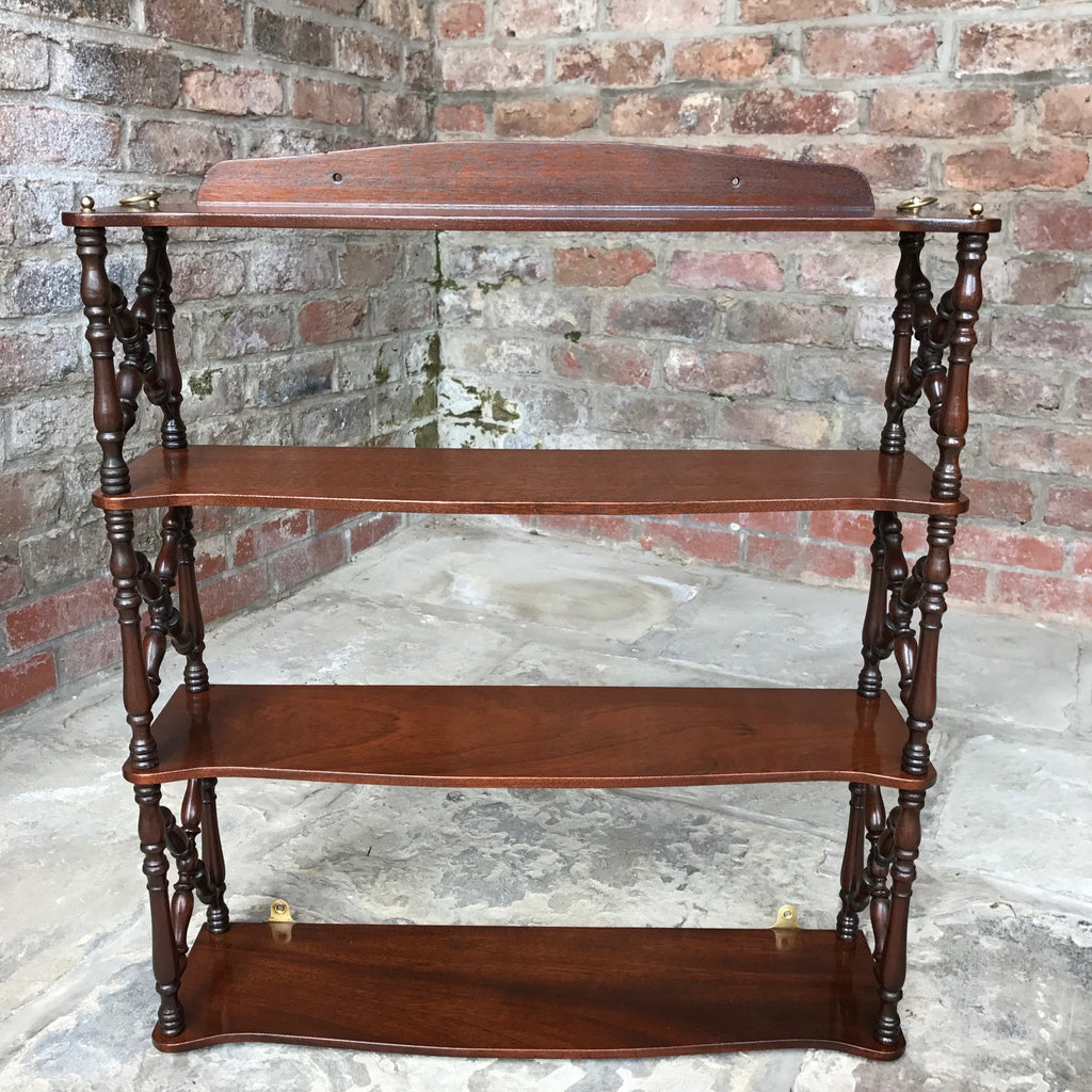 Pair of 19th Century Mahogany Trellis Sided Wall Shelves - Front View -3
