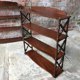 Pair of 19th Century Mahogany Trellis Sided Wall Shelves - Side View - 4