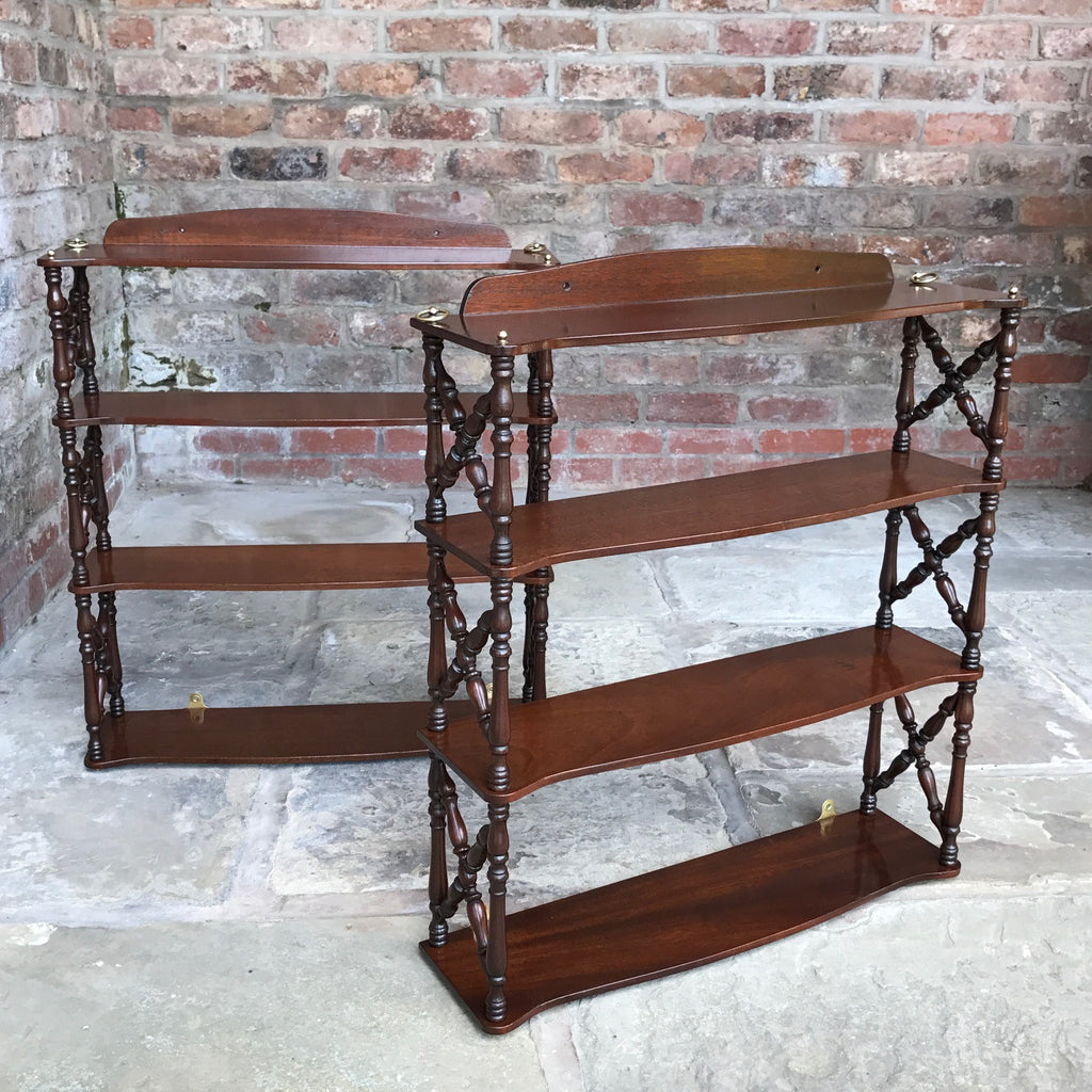 Pair of 19th Century Mahogany Trellis Sided Wall Shelves - Main View -2