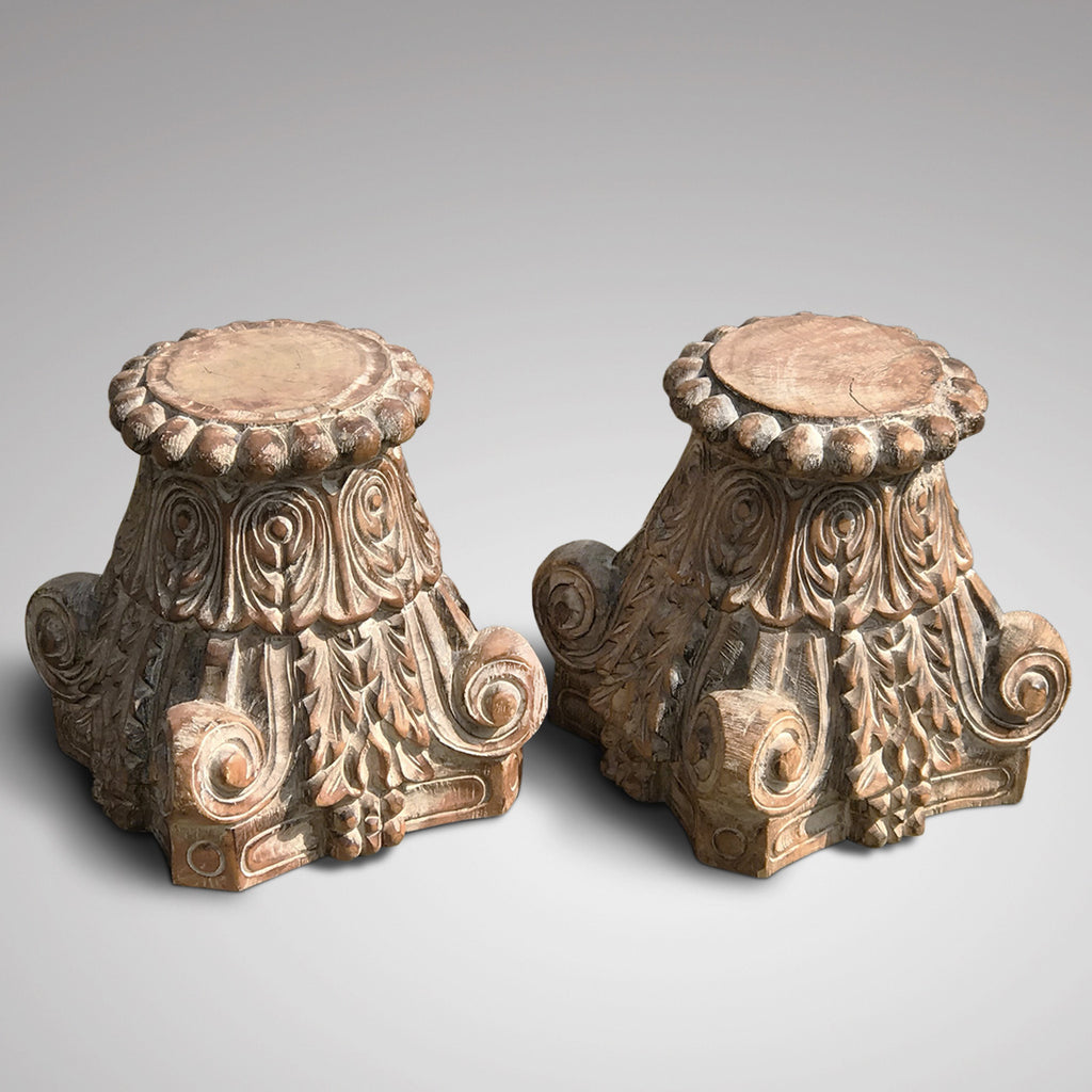 Pair of Late 20th Century Rajastan Carved Capitals - Main View - 2