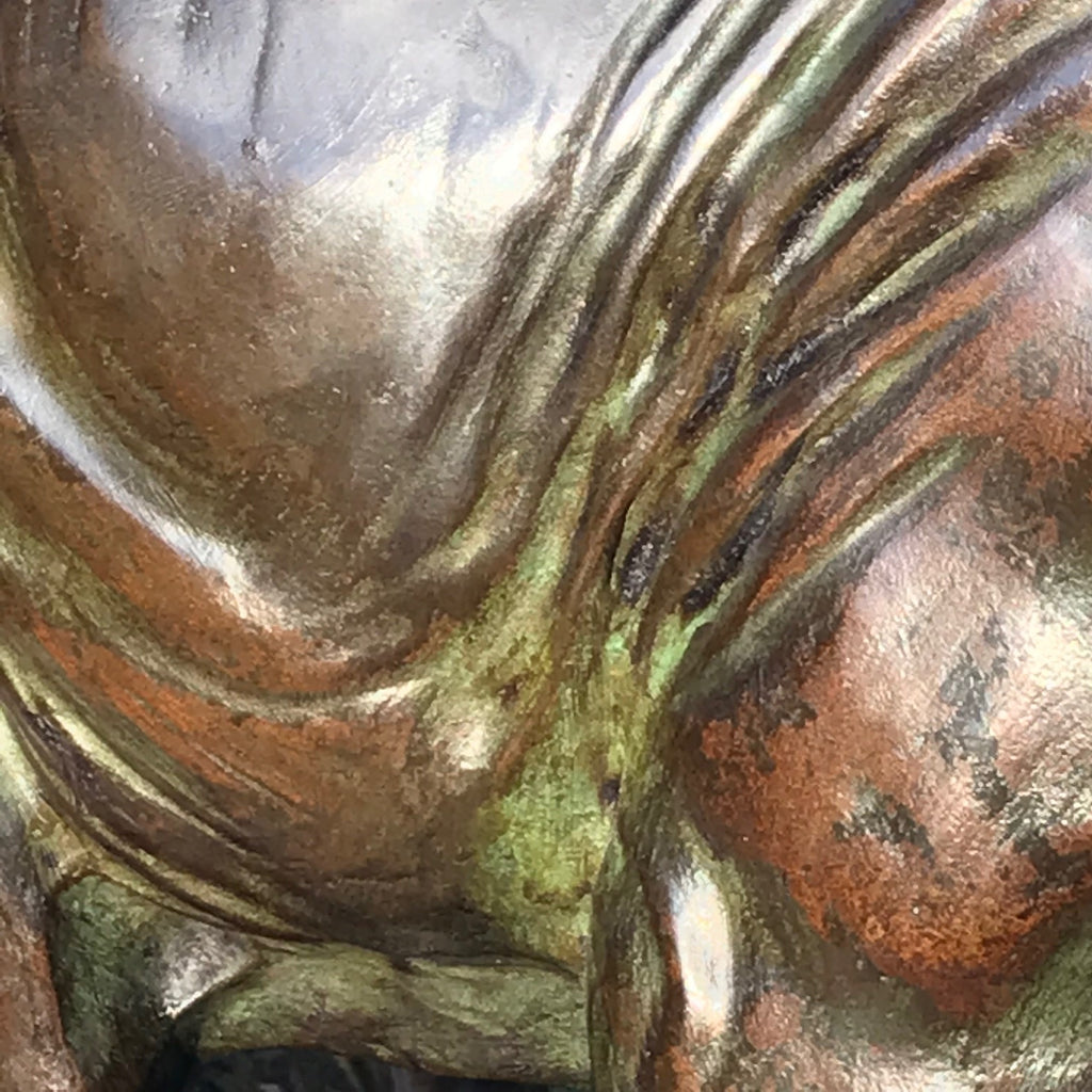 Large Signed French Bronze Sculpture Mother & Baby Elephants - Detail View - 4