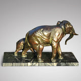 Large Signed French Bronze Sculpture Mother & Baby Elephants - Back  View - 3