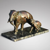 Large Signed French Bronze Sculpture Mother & Baby Elephants - Main View - 2