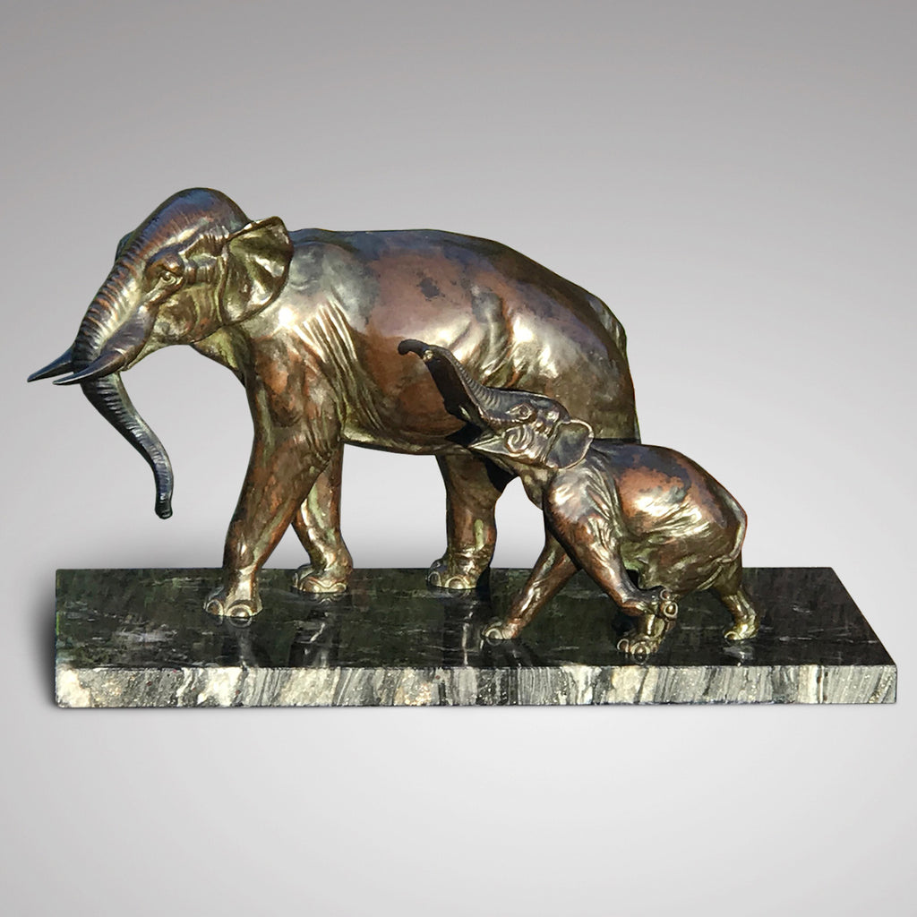 Large Signed French Bronze Sculpture Mother & Baby Elephants - Main View -1