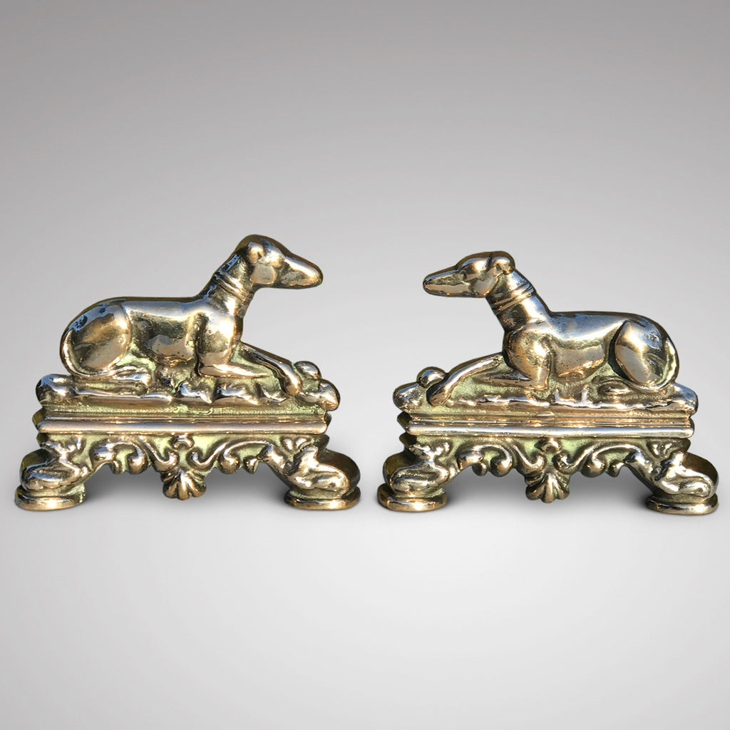 Pair of 19th Century Polished Bronze Greyhound Hearth Ornaments - Main View - 1