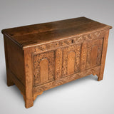 18th Century Welsh Carved Oak Coffer - Main View - 2