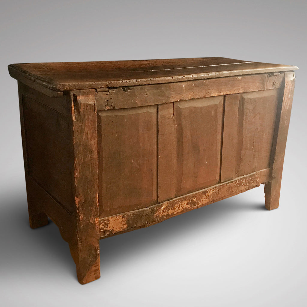 18th Century Welsh Carved Oak Coffer - Back View - 3
