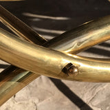 Art Deco Stool on Curved Brass Base - Frame Detail - 4