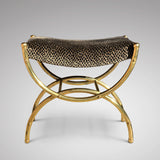 Art Deco Stool on Curved Brass Base - Main View - 1