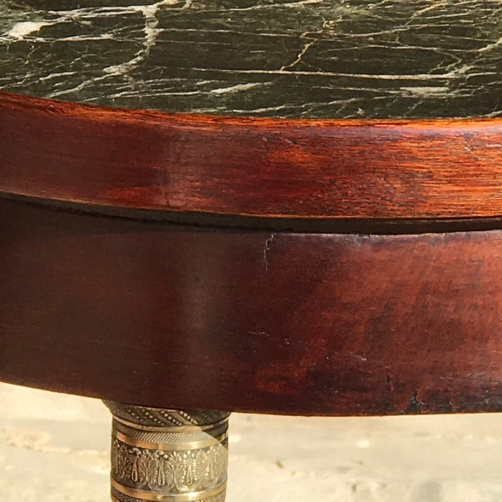 19th Century French Empire Side Table - Detail of Mahogany Top - 4
