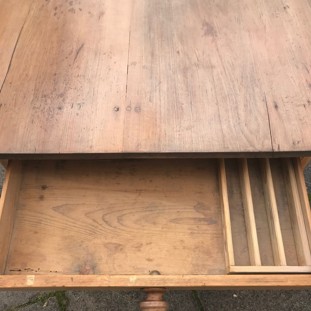 19th Century Pine Farmhouse Kitchen Table - Detail View - 4