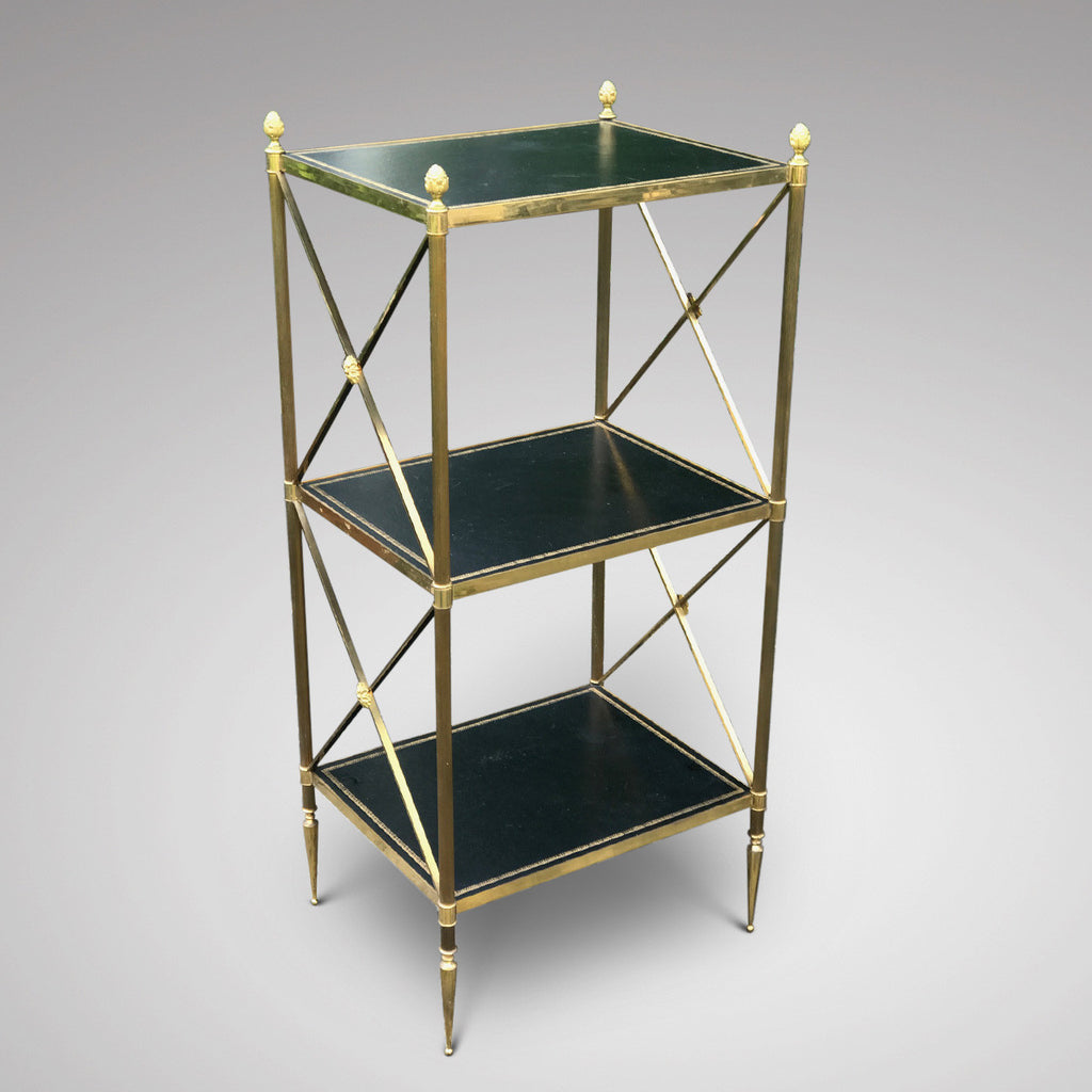 Three Tier Brass & Leather Etagere - Front & Side View - 1