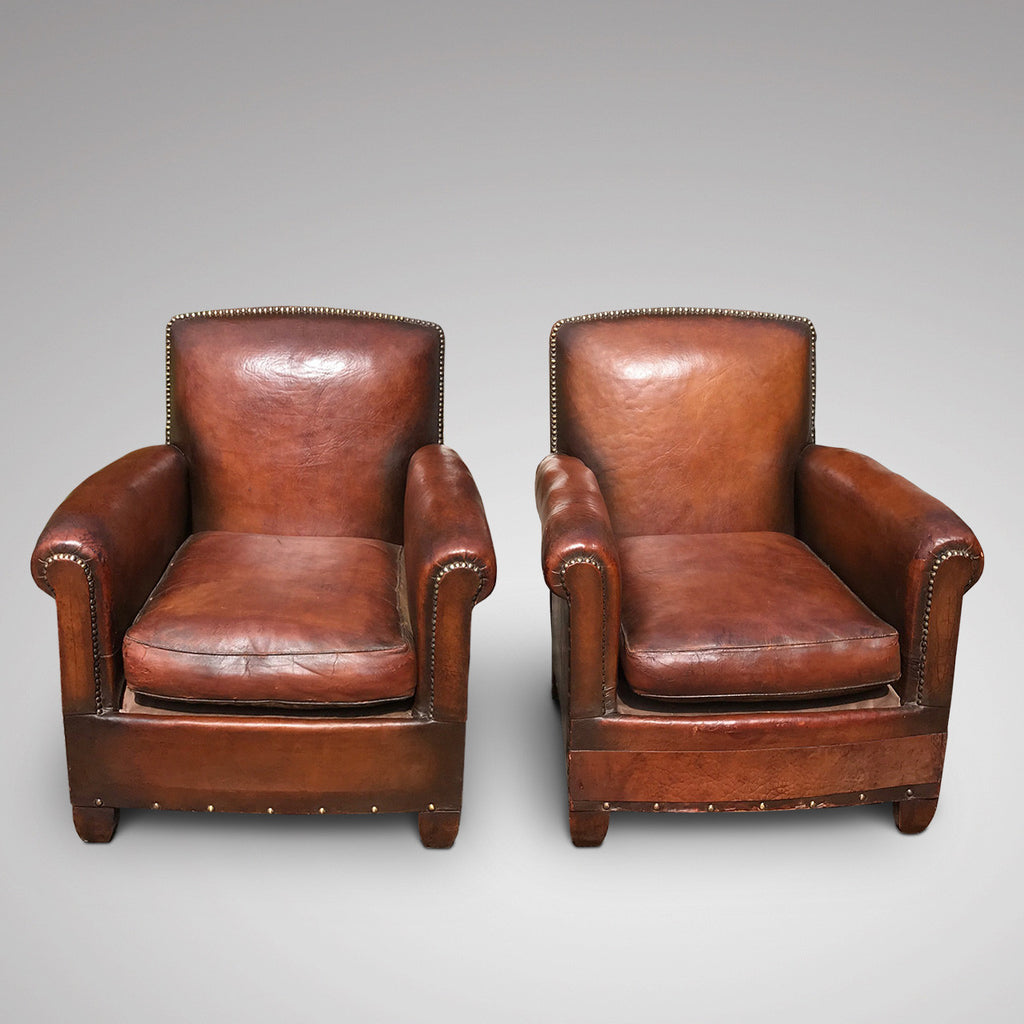 Pair French Leather Club Chairs - Front View - 1