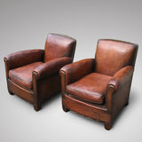 Pair French Leather Club Chairs - Side View - 2