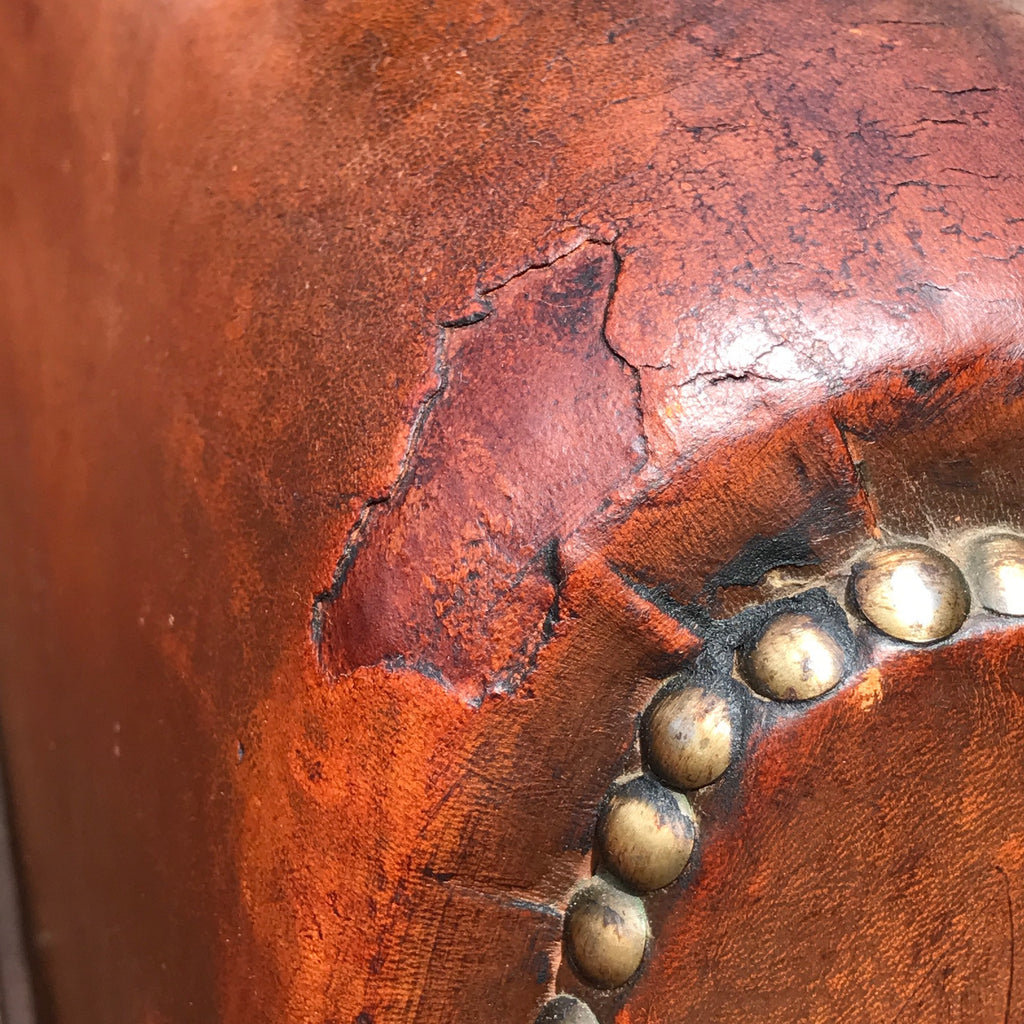 Pair of French Leather Club Chairs - Arm Detail View - 11