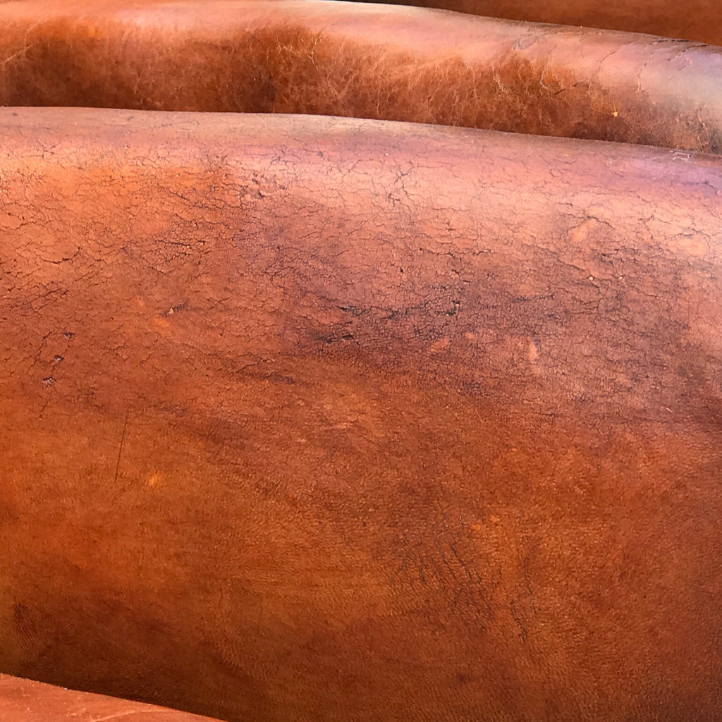 Pair of French Leather Club Chairs - Arm Detail View - 6