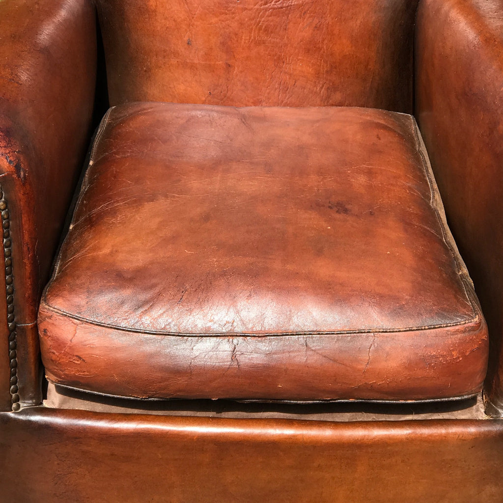 Pair of 19th Century French Leather Club Chairs - Seat Detail View- 8