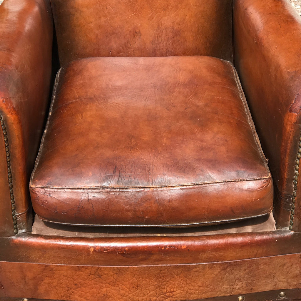 Pair of French Leather Club Chairs - Seat Detail View - 9