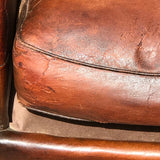 Pair of 19th Century French Leather Club Chairs - Seat Detail View - 10