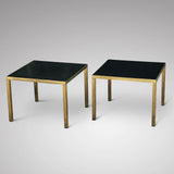 A Pair of Mid Century Black Topped Brass Side Tables