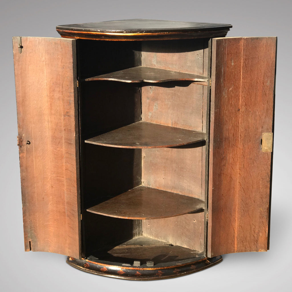 George III Japanned Bow Fronted Corner Cupboard - Inside View - 2