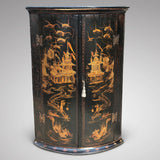 George III Japanned Bow Fronted Corner Cupboard - Main View - 1