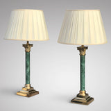 Pair of Early 20th Century Green Marble & Brass Table Lamps - Main View - 2