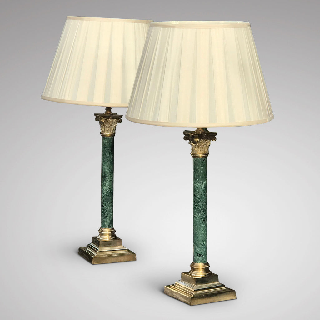 Pair of Early 20th Century Green Marble & Brass Table Lamps - Main View - 1
