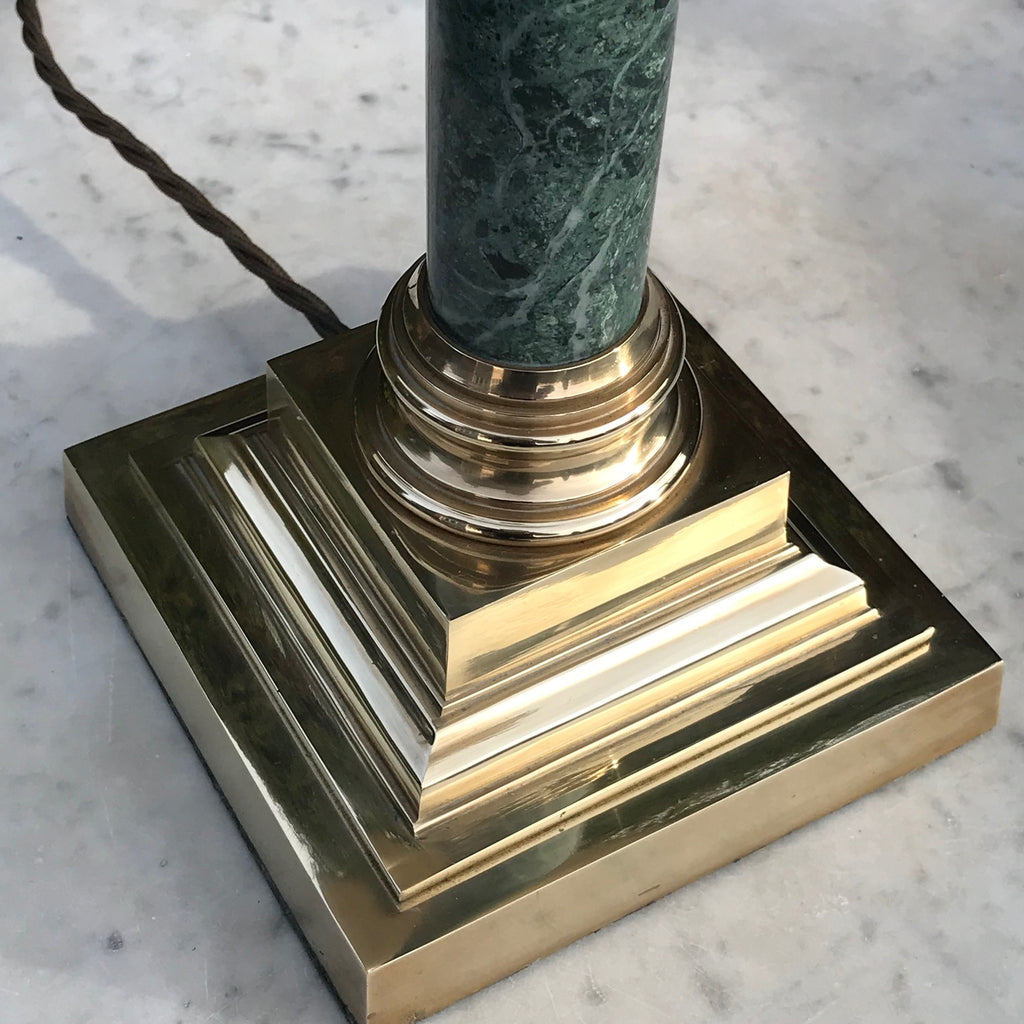 Pair of Early 20th Century Green Marble & Brass Table Lamps - Base View - 4