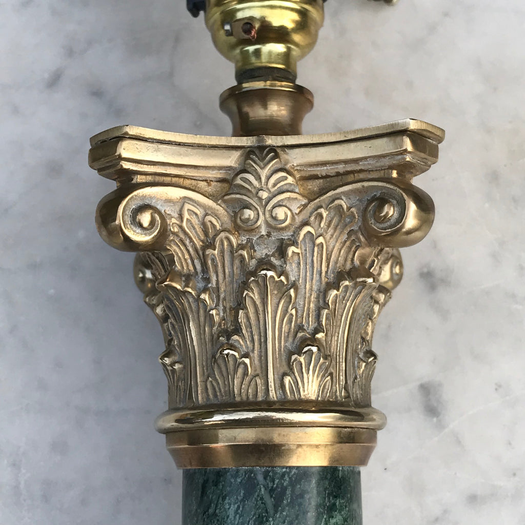 Pair of Early 20th Century Green Marble & Brass Table Lamps - Detail View - 5