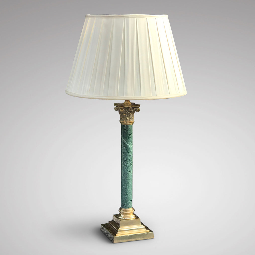 Pair of Early 20th Century Green Marble & Brass Table Lamps - Main View - 3