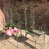 Pair of 19th Century Painted Garden Chairs - Front & Side View - 1