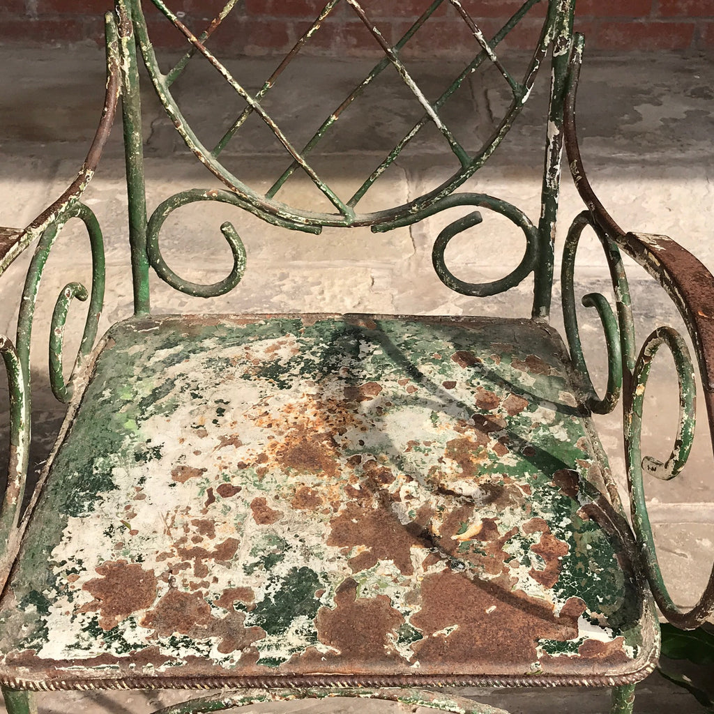 Pair of 19th Century Painted Garden Chairs - Painted Seat Detail - 8
