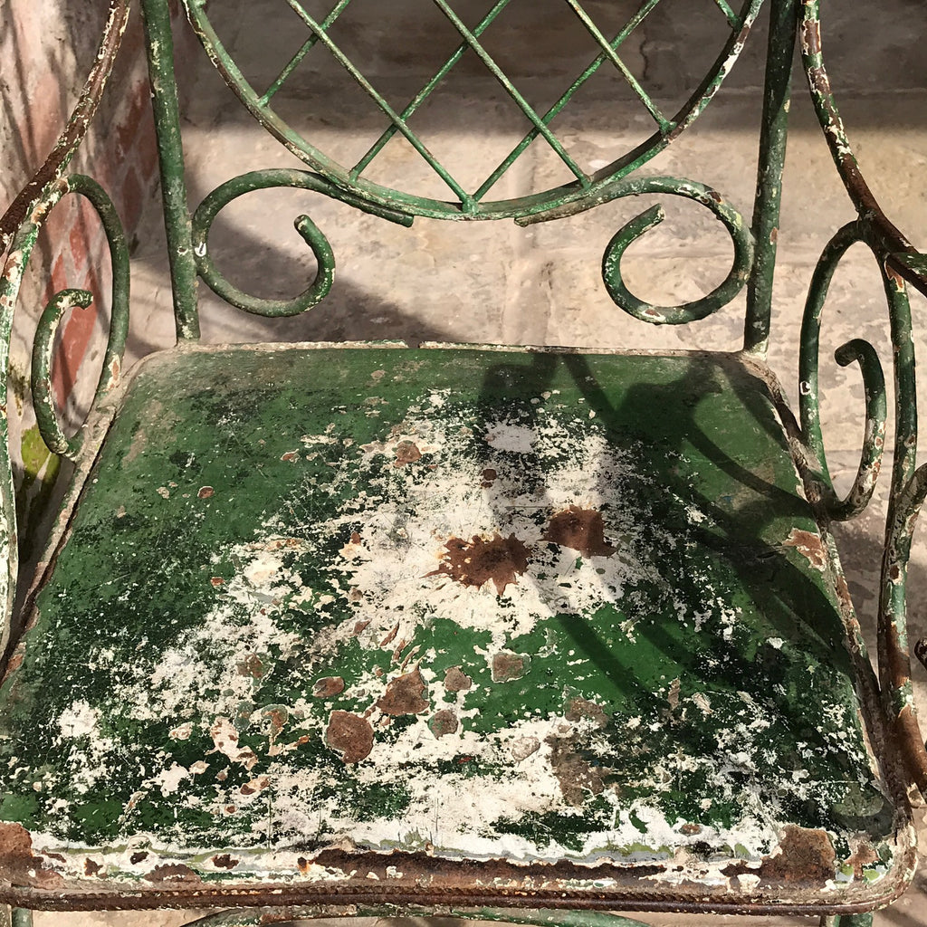 Pair of 19th Century Painted Garden Chairs - Painted Seat Detail - 9