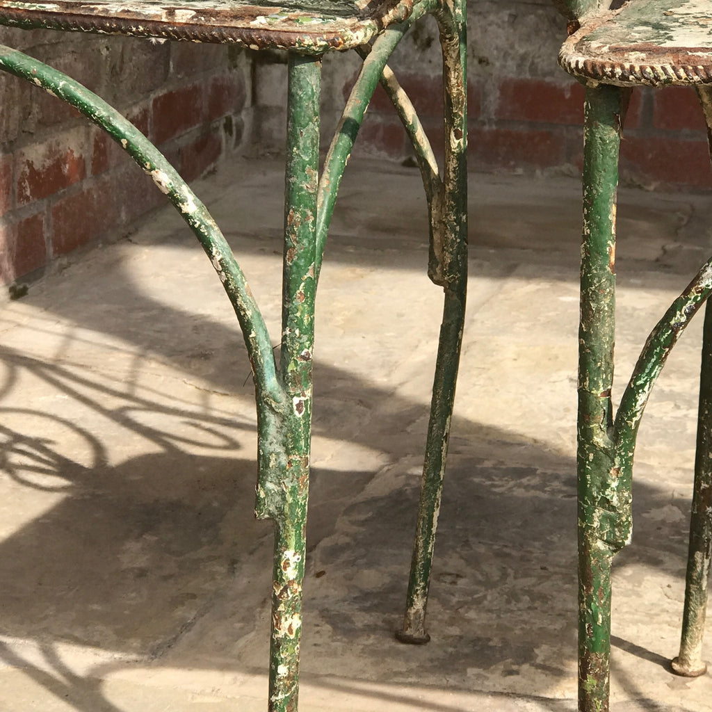 Pair of 19th Century Painted Garden Chairs - Close up View of Legs - 11