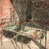 Pair of 19th Century Painted Garden Chairs - Front & Side Detail View - 7