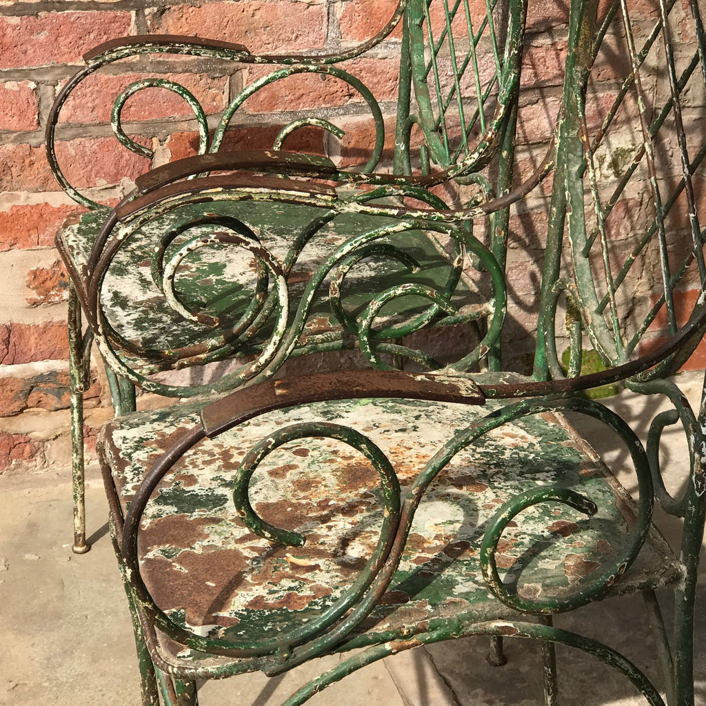 Pair of 19th Century Painted Garden Chairs - Detail of Scroll Arms - 6
