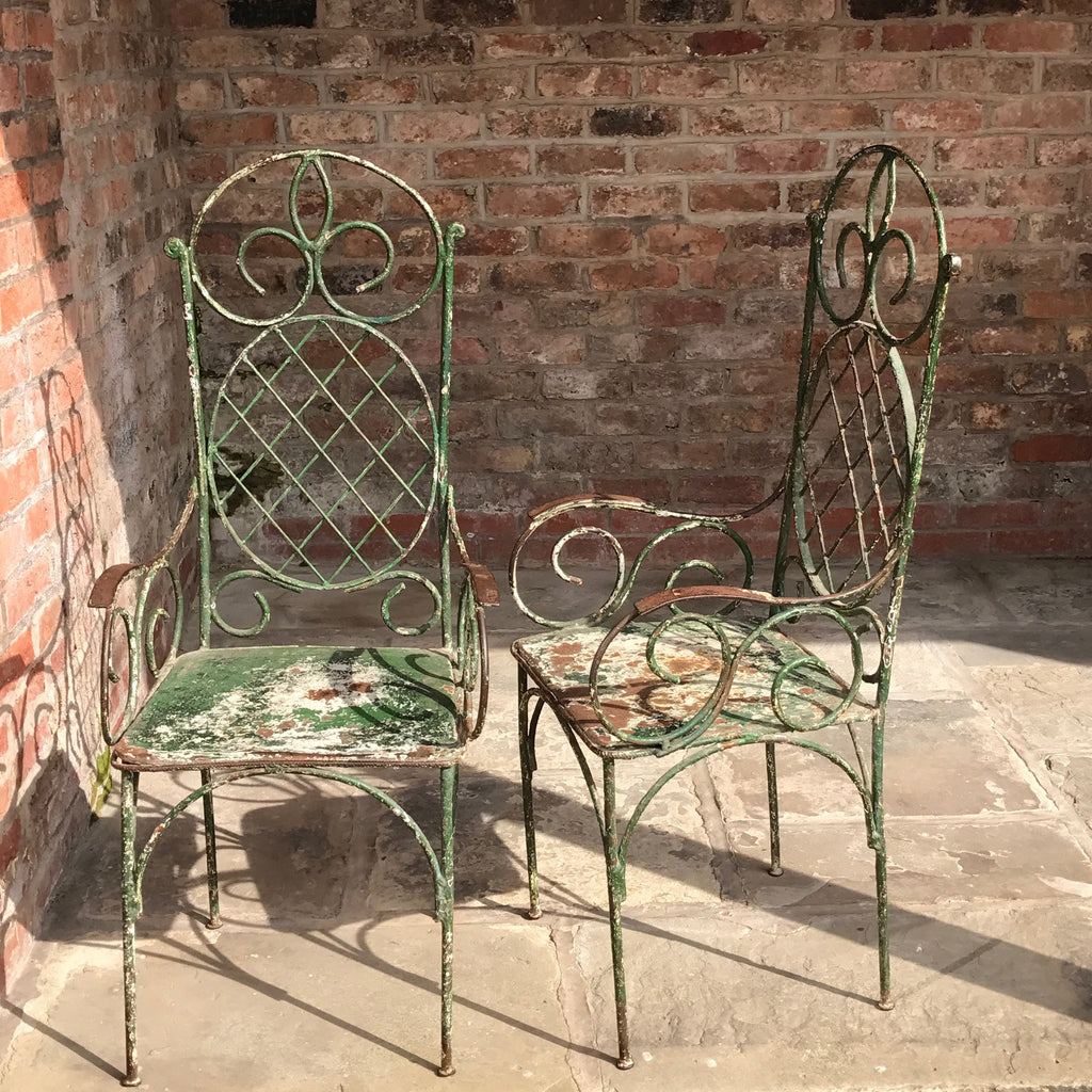 Pair of 19th Century Painted Garden Chairs - Front & Side View - 2