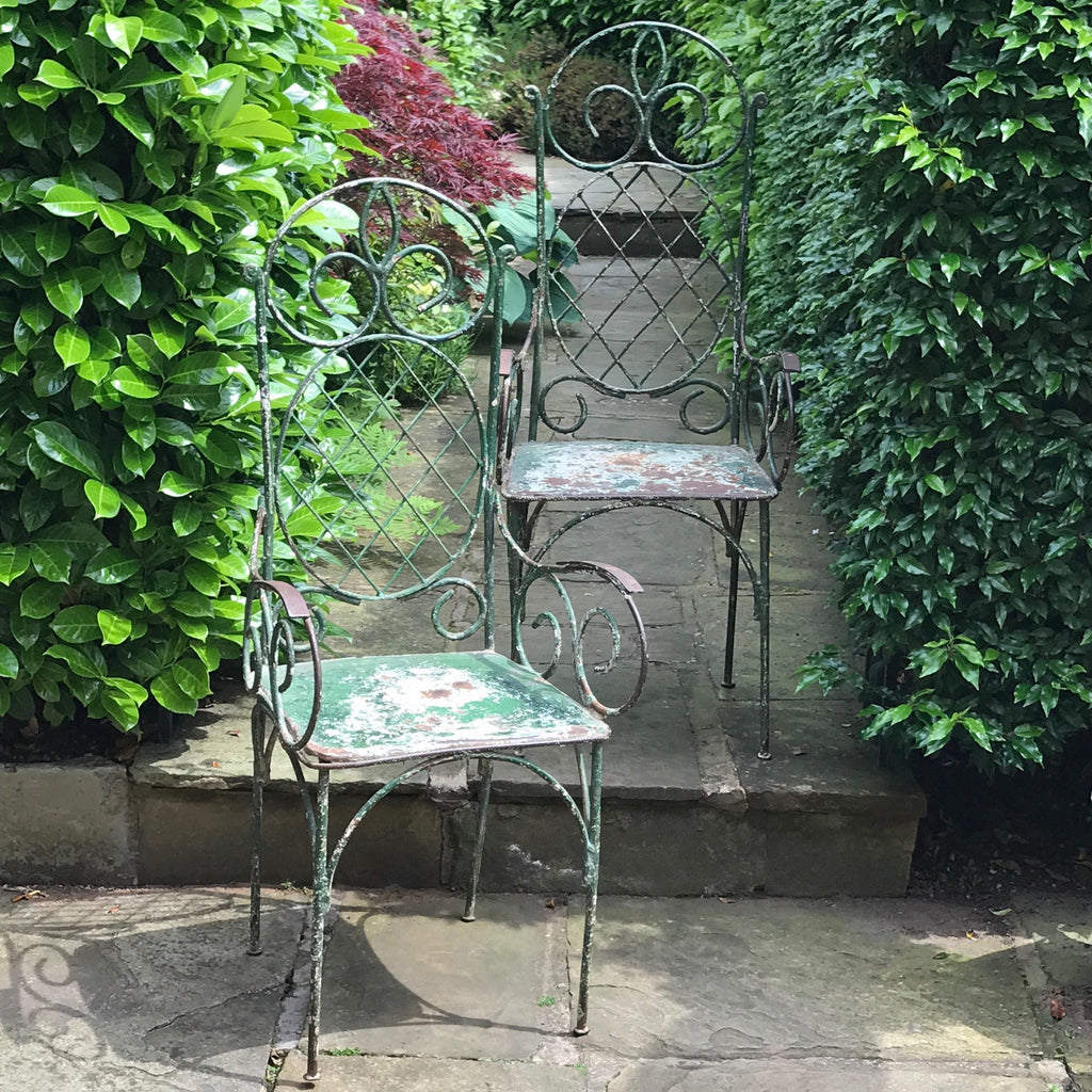 Pair of 19th Century Painted Garden Chairs - Front Detail View - 10