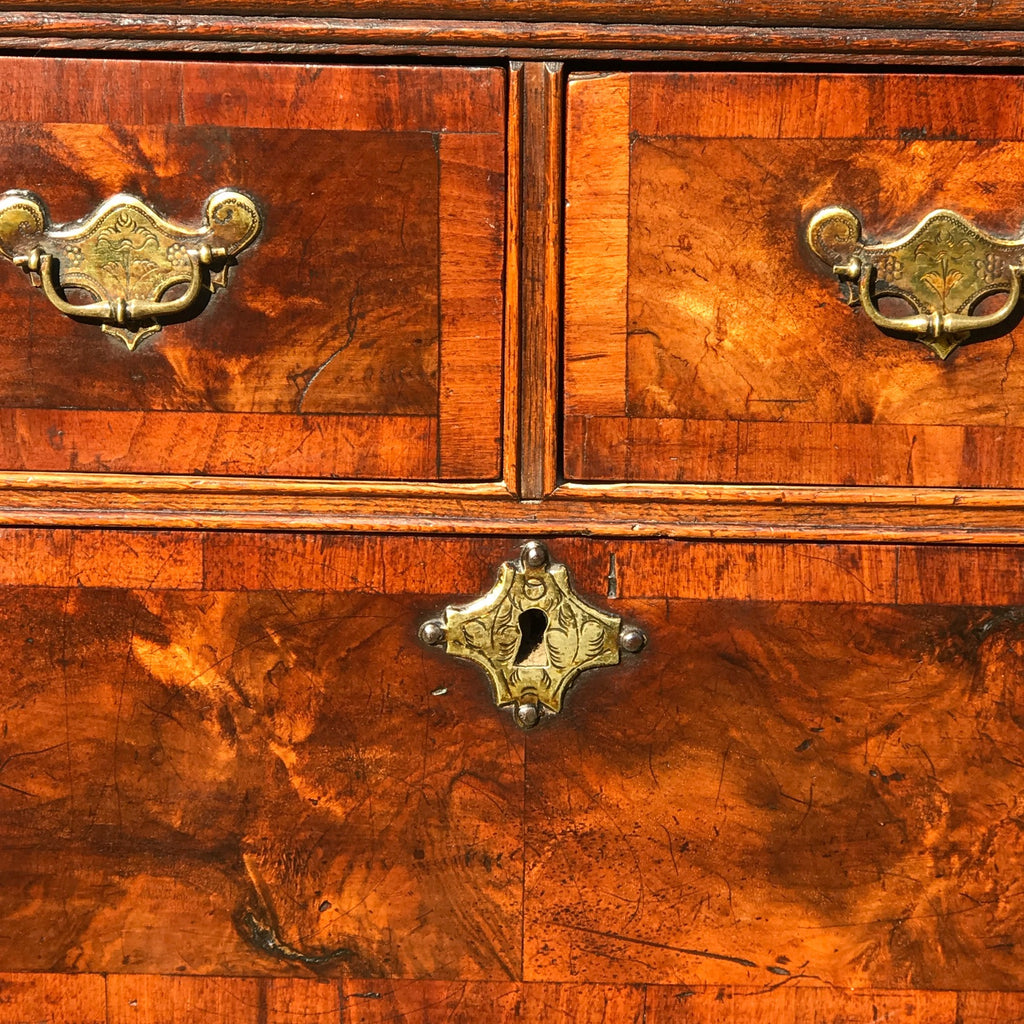 Early 18th Century Oak & Walnut Chest of Drawers - Front Detail View - 7
