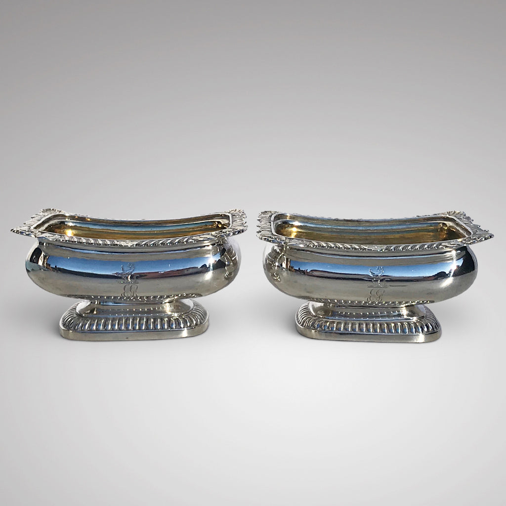 Pair of Georgian Silver Table Salts by Rebecca Emes & Edward Barnard - Main View - 1