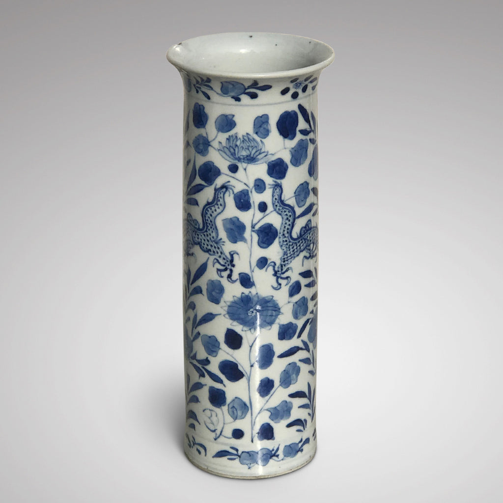 19th Century Chinese Dragon & Peony Sleeve Vase - Main View - 2